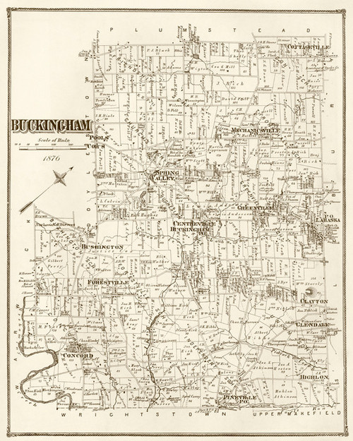 Art Prints of Buckingham, 1876, Bucks County Vintage Map