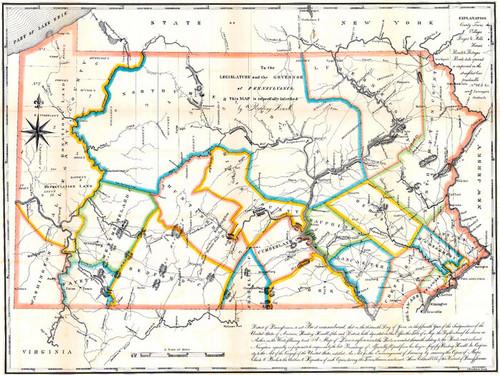 Art Prints of Counties of Pennsylvania, 1791, Bucks County Vintage Map