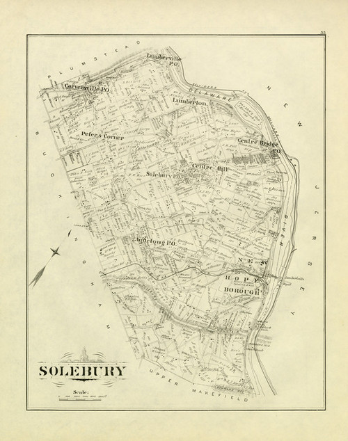 Art Prints of Bucks County Map Solebury, Bucks County Vintage Map