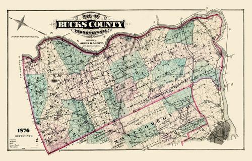 Art Prints of Bucks County Map Color, Bucks County Vintage Map