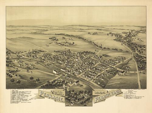 Art Prints of Perkasie, 1894, Bucks County Vintage Map