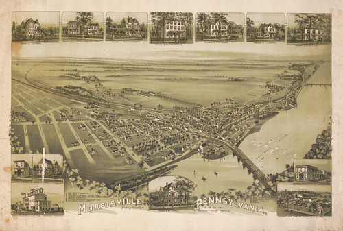 Art Prints of Morrisville, 1893, Bucks County Vintage Map