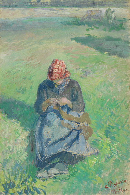 Art Prints of Farmer Knitting by Camille Pissarro