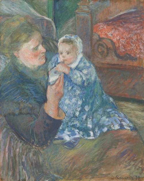 Art Prints of Julie Pissarro with Son by Camille Pissarro