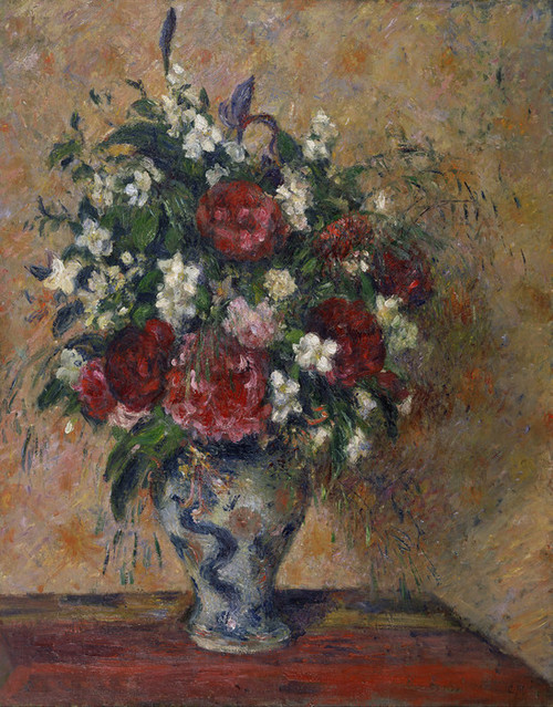 Art Prints of Still Life with Peonies and Mock Orange by Camille Pissarro