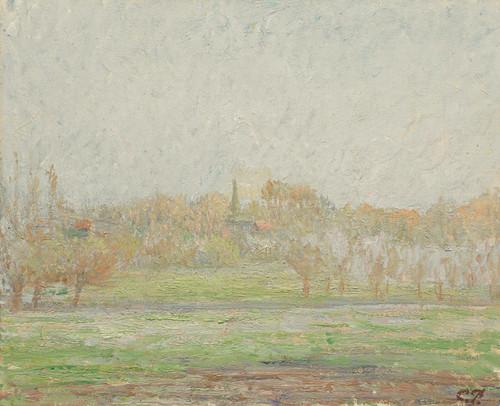 Art Prints of Bazincourt Fog by Camille Pissarro