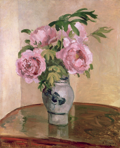 Art Prints of Bouquet of Pink Peonies by Camille Pissarro