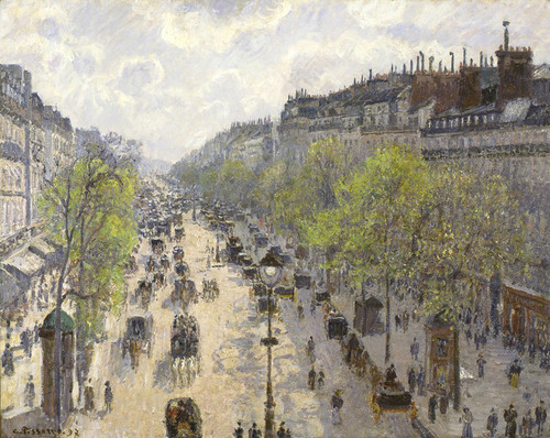Art Prints of Boulevard Montmartre, Spring by Camille Pissarro