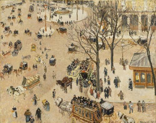 Art Prints of La Place due Theatre Francais by Camille Pissarro