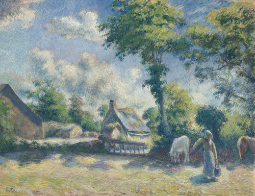 Art Prints of Melleray Landscape, Woman Watering Cows by Camille Pissarro