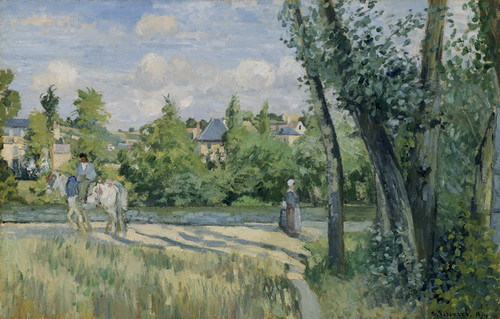 Art Prints of Sunlight on the Road, Pontoise by Camille Pissarro