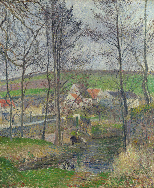 Art Prints of The Banks of the Viosne at Osny in Grey Weather by Camille Pissarro