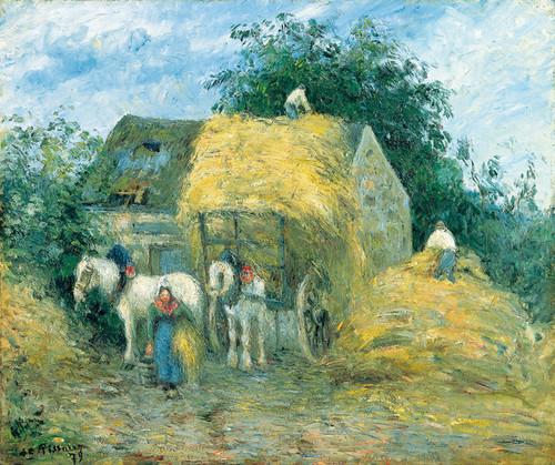 Art Prints of The Hay Cart, Montfoucault by Camille Pissarro