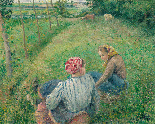 Art Prints of Young Peasant Girls Resting near Pontoise by Camille Pissarro