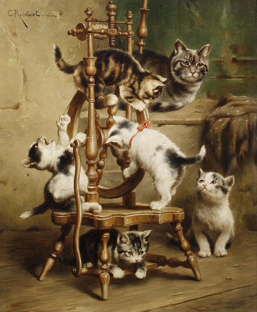 Art Prints of Kittens Playing on a Spinning Wheel by Carl Reichert