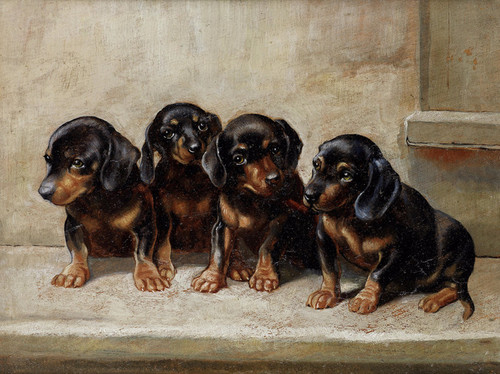 Art Prints of The Quartet, Dachshunds by Carl Reichert