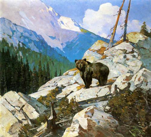 Art Prints of Grizzly Bear in a Mountainous Landscape by Carl Rungius