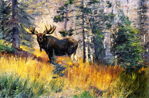 Art Prints of Moose in a Landscape by Carl Rungius