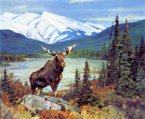 Art Prints of Mountain Landscape with Moose by Carl Rungius