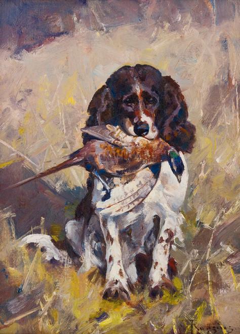 Art Prints of Spaniel, Dickey with Pheasant by Carl Rungius