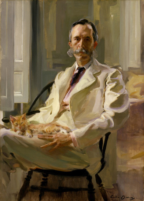 Art Prints of Man with the Cat by Cecilia Beaux