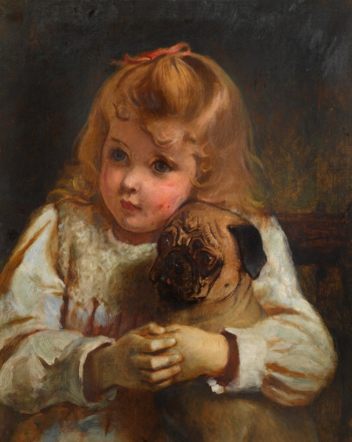 Art Prints of Concern, Girl with a Pug by Charles Burton Barber