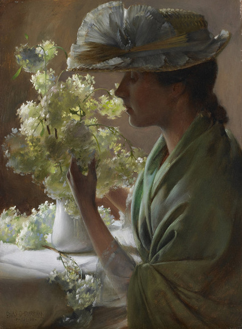 Art Prints of Lady with a Bouquet, Snowballs by Charles Courtney Curran