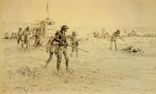 Art Prints of Trapper's Fracas Outside Ft. Union by Charles Marion Russell