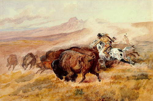 Art Prints of Piegan Buffalo Hunt, 1902 by Charles Marion Russell