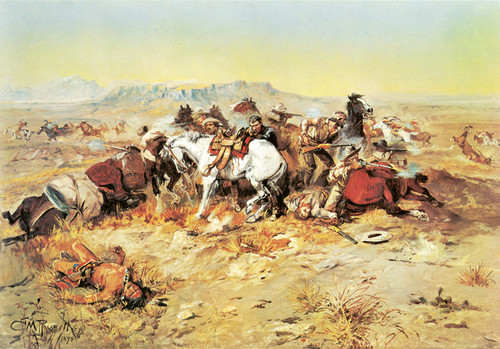 Art Prints of A Desperate Stand by Charles Marion Russell
