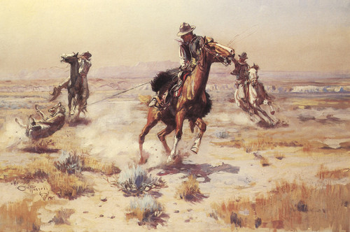 Art Prints of At Rope's End by Charles Marion Russell