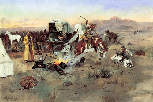Art Prints of Bronc in Cow Camp by Charles Marion Russell