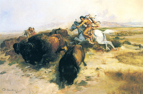 Art Prints of Buffalo Hunt III by Charles Marion Russell