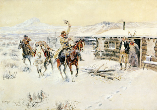 Art Prints of Christmas at the Line Camp by Charles Marion Russell