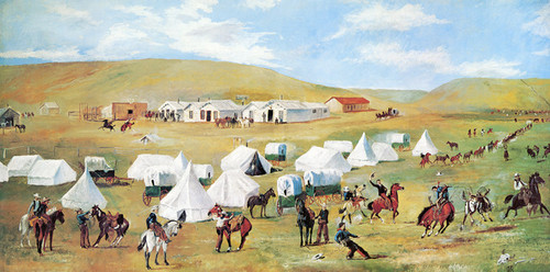 Art Prints of Cowboy Camp during Roundup by Charles Marion Russell