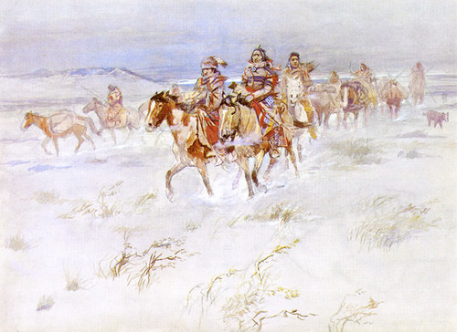 Art Prints of Crees Coming to the Trade by Charles Marion Russell