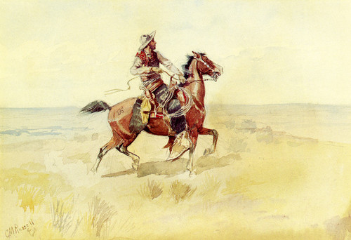 Art Prints of Cowboy on the Range by Charles Marion Russell