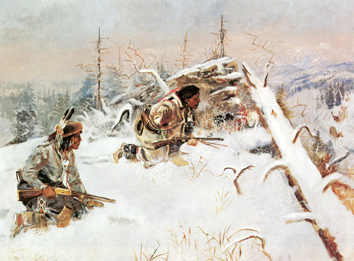 Art Prints of Crow Indians Hunting Elk by Charles Marion Russell