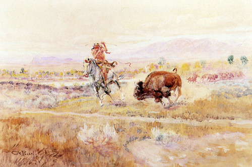 Art Prints of Fighting Meat by Charles Marion Russell