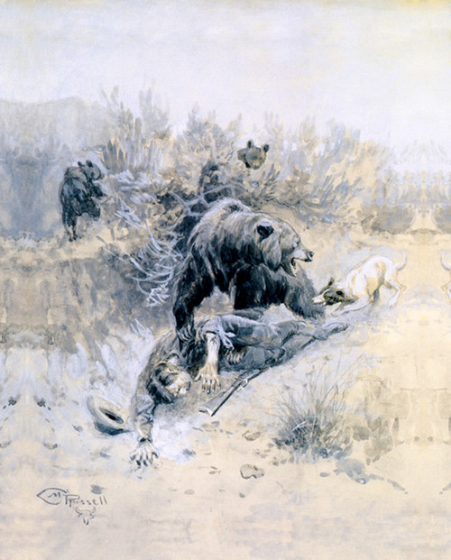 Art Prints of He Tripped and Fell into a Den on Mother Bear and Cubs by C.M. Russell