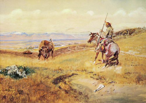 Art Prints of Flintlock Days when Guns were Slow by Charles Marion Russell