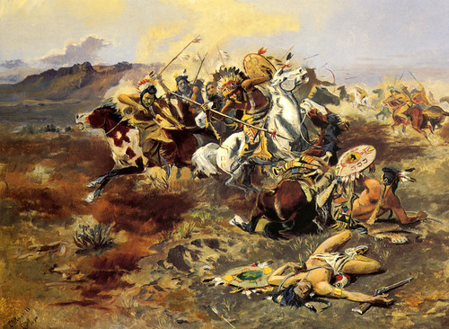 Art Prints of Indian Fight by Charles Marion Russell