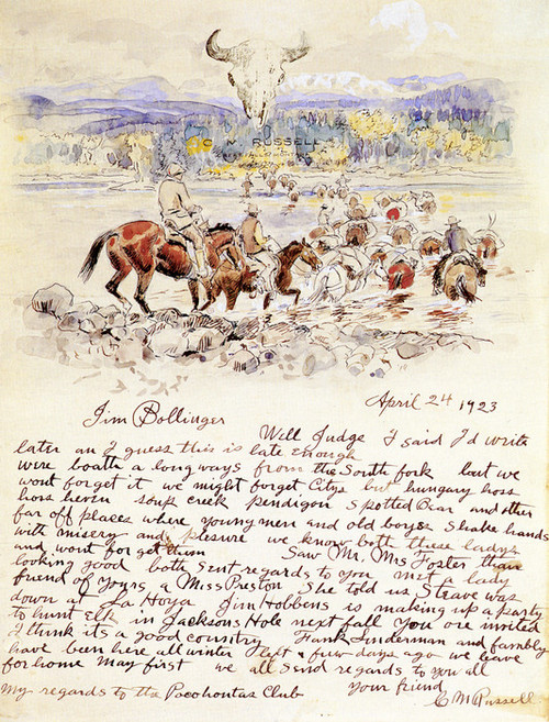 Art Prints of Illustrated Letter to Jim Bollinger by Charles Marion Russell