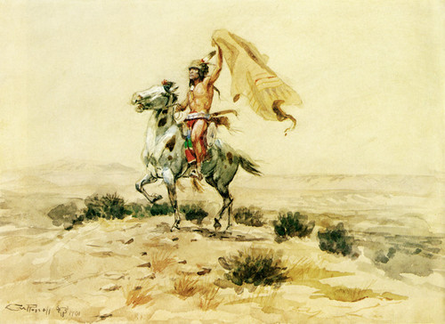 Art Prints of Indian Signalling by Charles Marion Russell