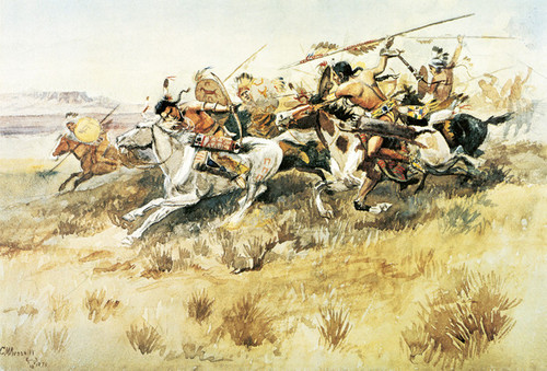 Art Prints of Indians Attacking by Charles Marion Russell