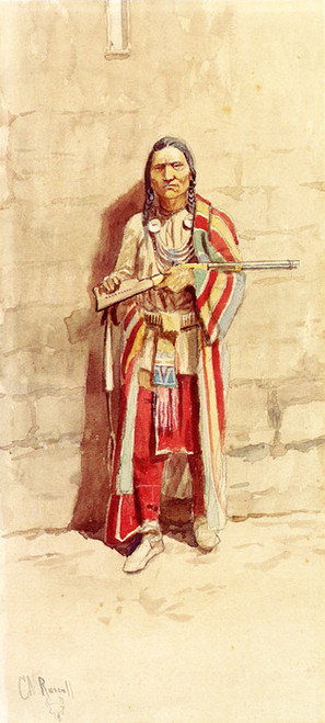 Art Prints of Indian with His Winchester by Charles Marion Russell