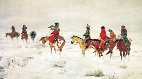 Art Prints of Lost in a Storm, We Are Friends by Charles Marion Russell