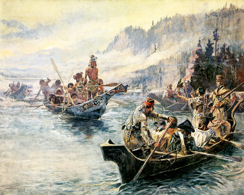 Art Prints of Lewis and Clark on the Lower Columbia by Charles Marion Russell