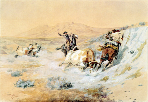 Art Prints of One Down, Two To Go by Charles Marion Russell