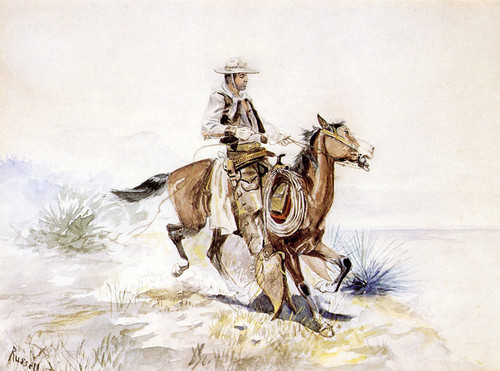 Art Prints of Reining In by Charles Marion Russell